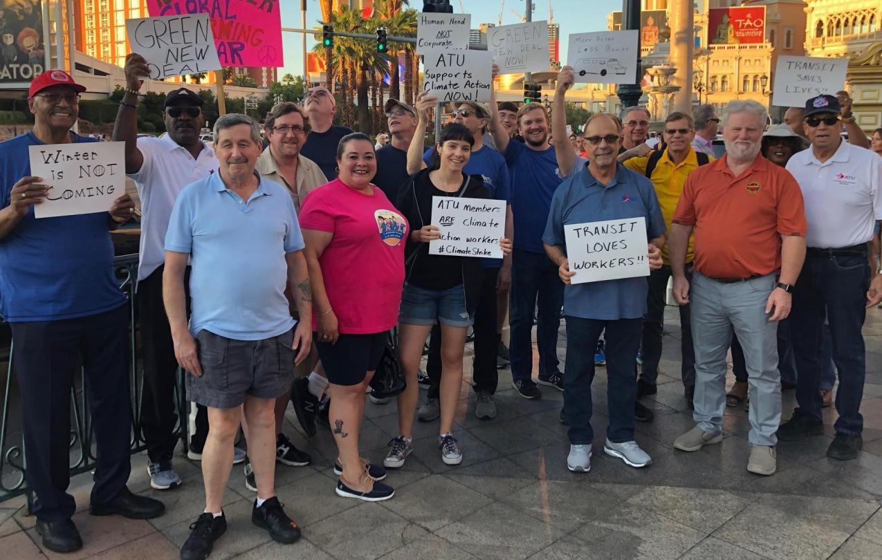 ATU members at the climate strike in Las Vegas