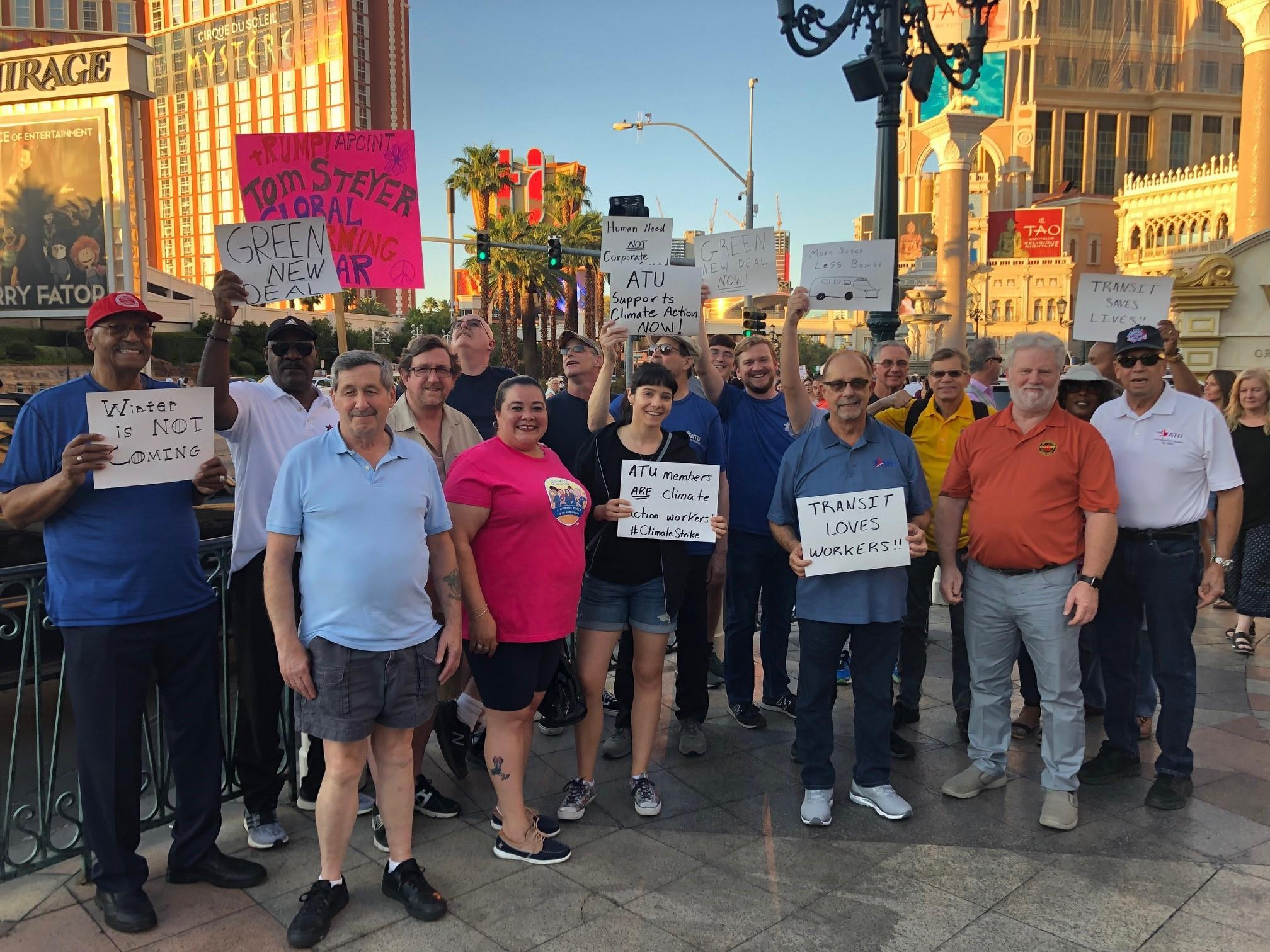 ATU members at the climate strike in Las Vegas