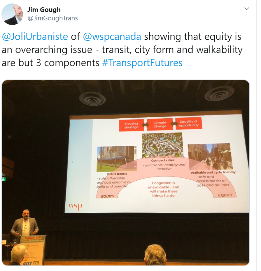 Tweet about transport future equity conference